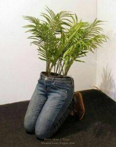 Pots de fleurs originaux et insolites en jeans